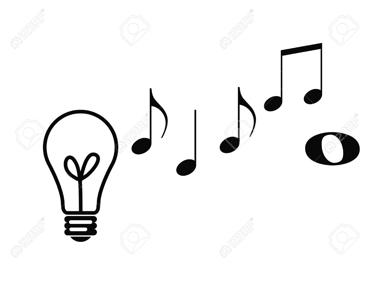 conceptual view of musical notes rising from lightbulb depicting