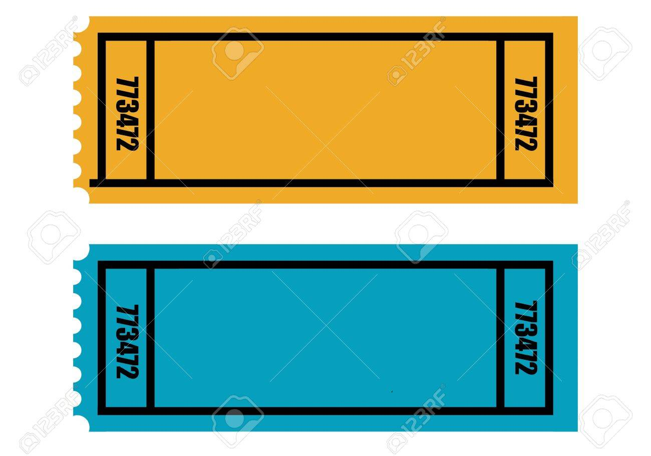 two blank perforated tickets isolated on white background stock