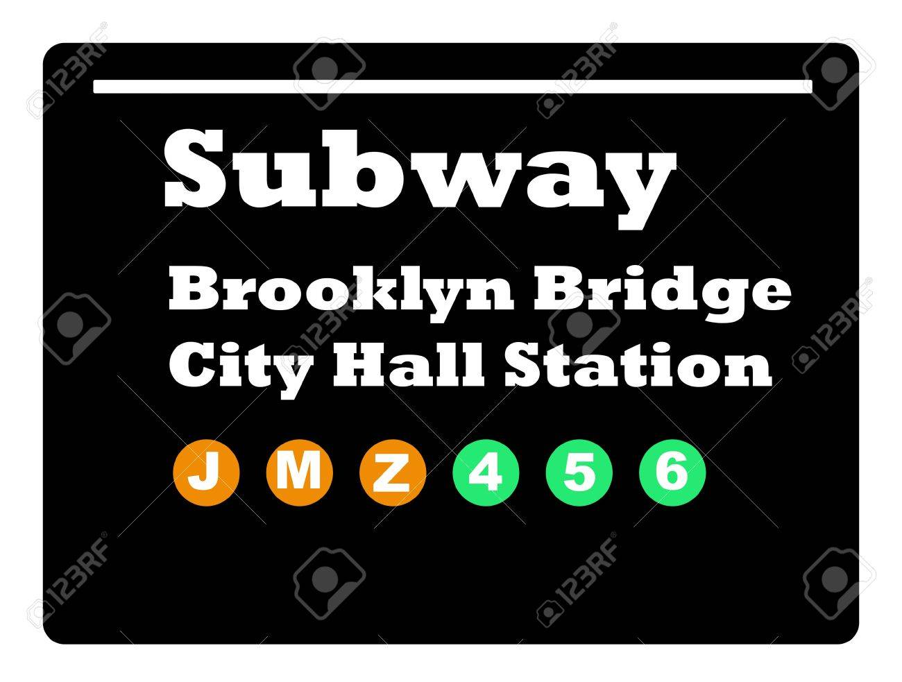 Brookly Bridge City Hall Station subway train sign isolated on black background. Stock Photo - 5416026