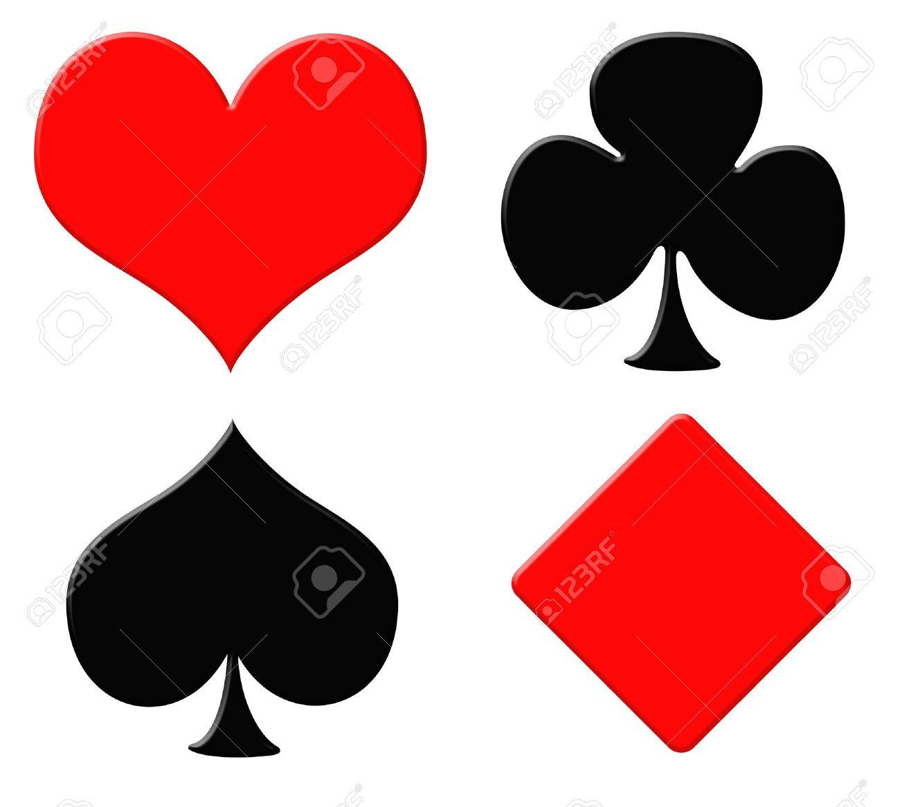 Playing card symbols or suits, isolated on white background. Stock Photo - 5548640