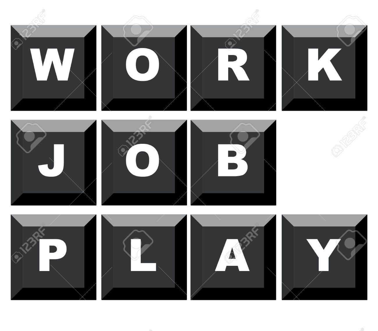 Words work, job and play spelled on black computer keyboard, isolated on white background. Stock Photo - 5741818