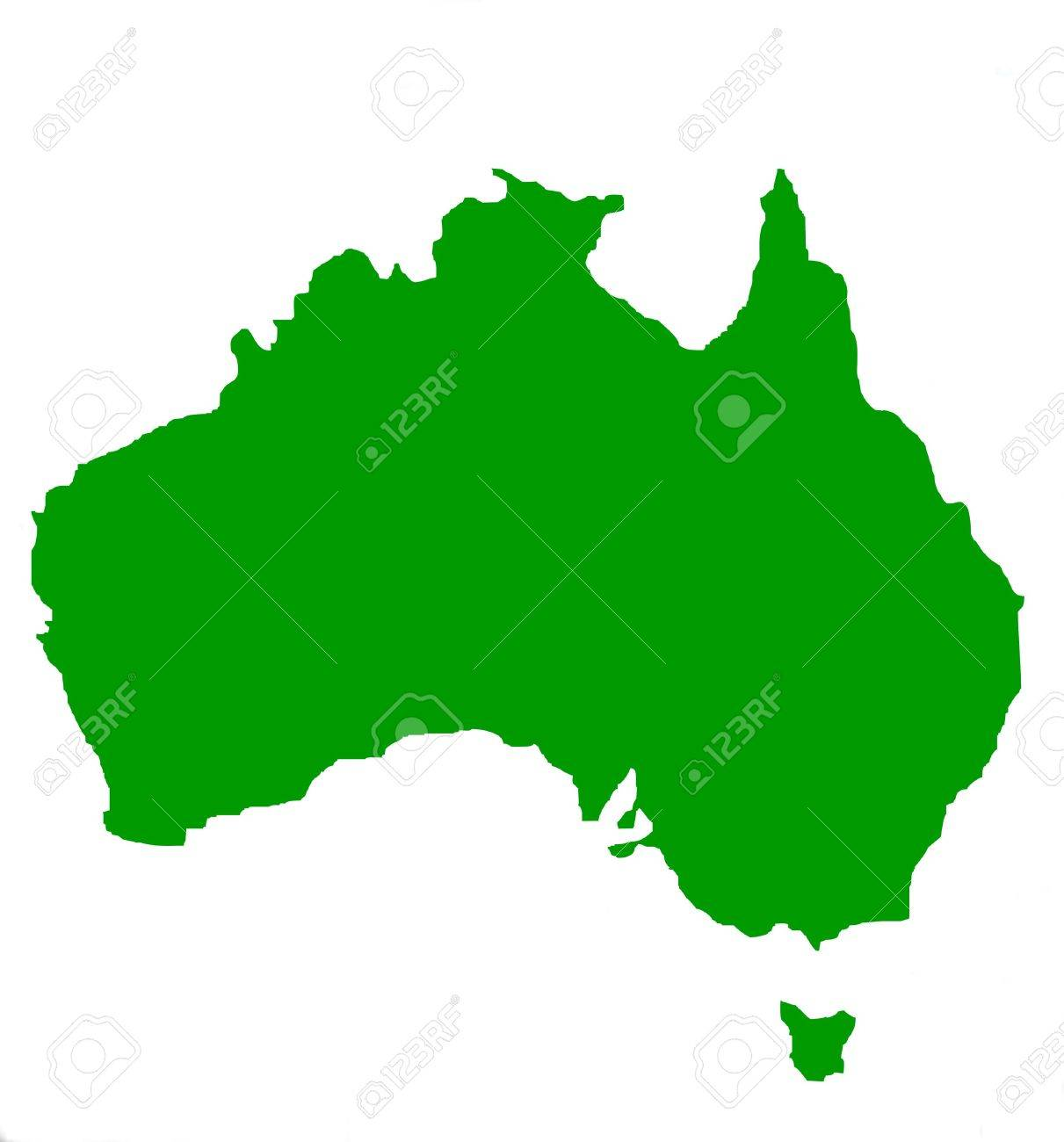 outline map of australia and tasmania in green isolated on white