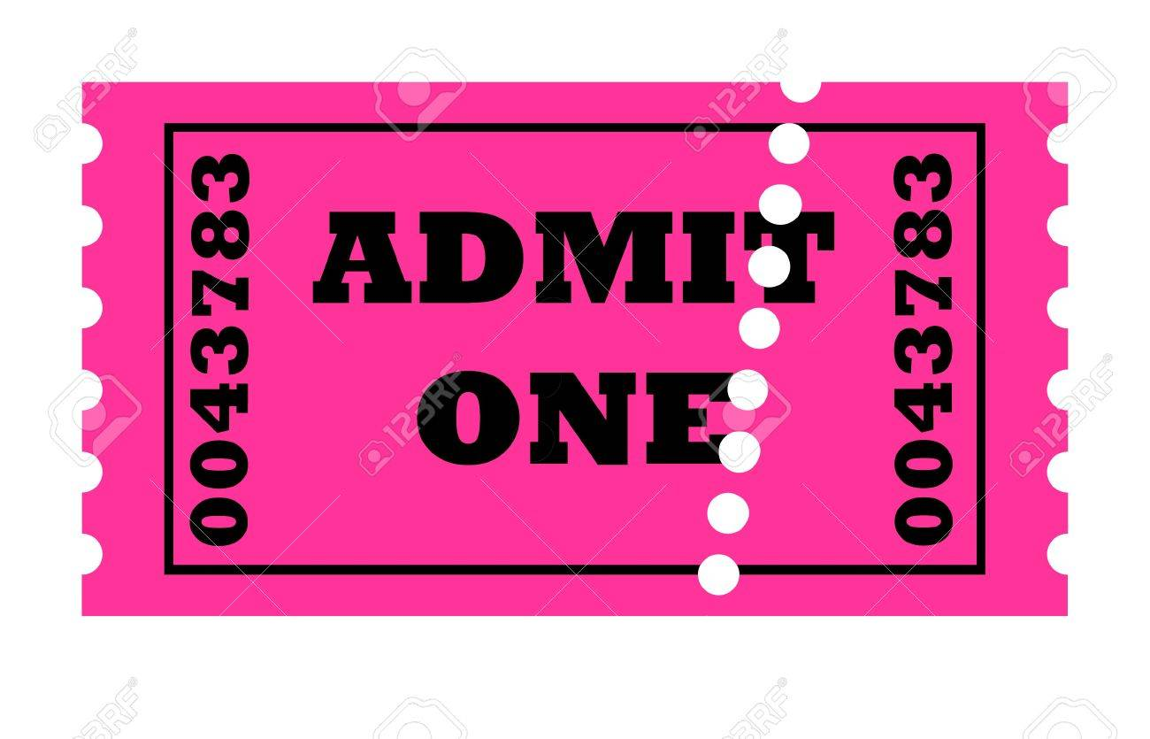 admit one perforated ticket isolated on white background with copy space stock photo 6236673