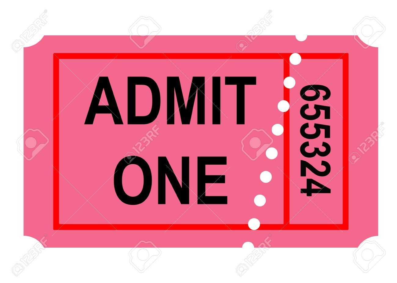 illustration illustration of admit one perforated ticket isolated on white background