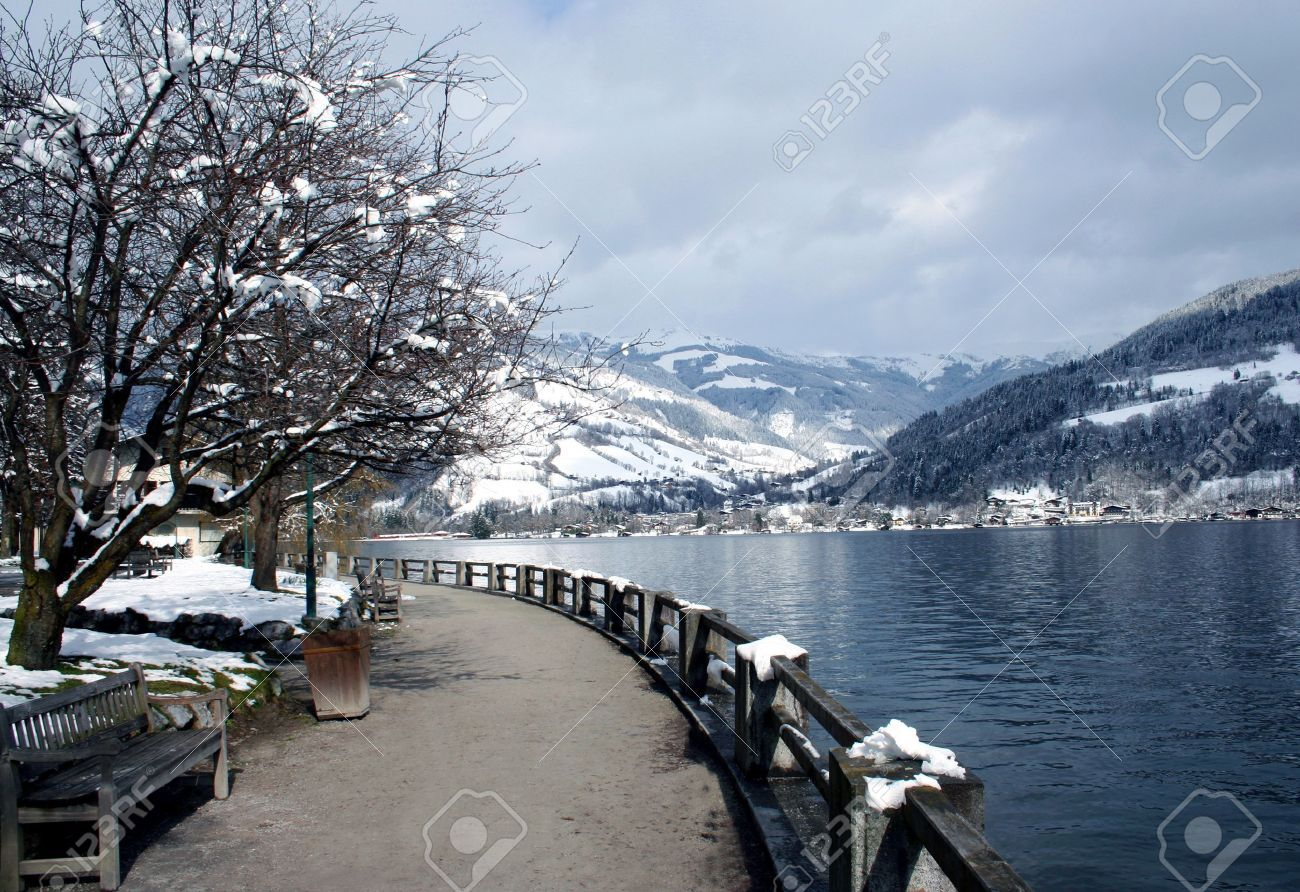 Scenic view of Alpine lake in Winter with snow mountain range in background. Stock Photo - 6529681