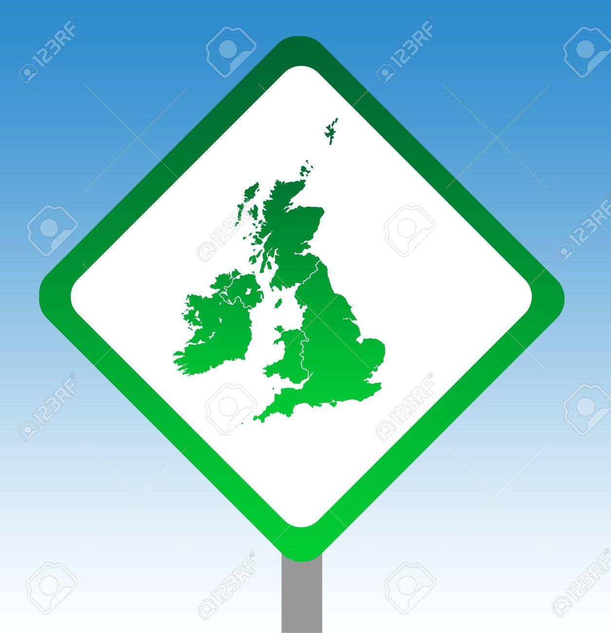 United Kingdom and Ireland map road sign isolated on graduated sky background. Stock Photo - 6584183