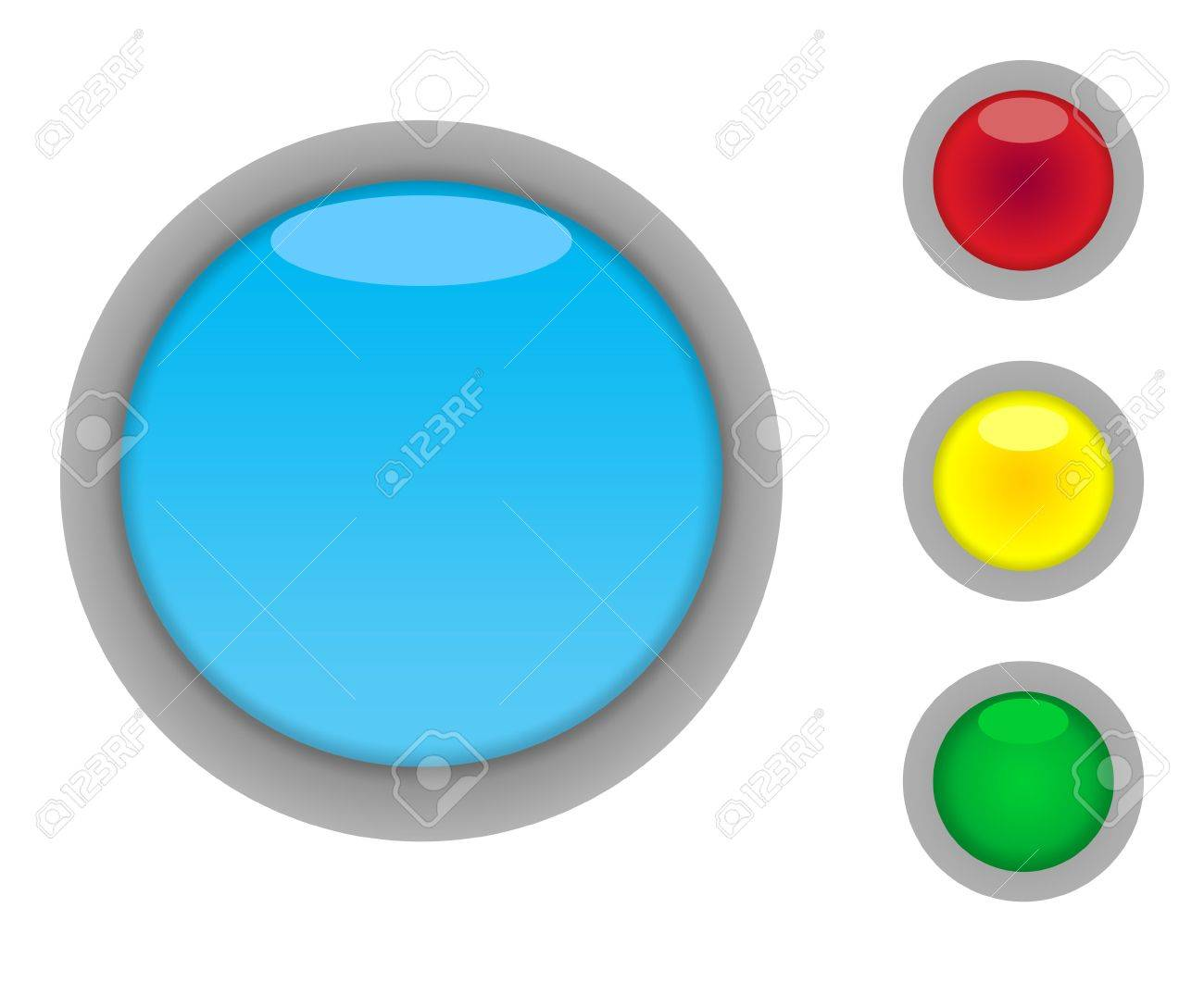 Set of four colorful glossy button icons with light effect isolated on white background with copy space Stock Photo - 6642407