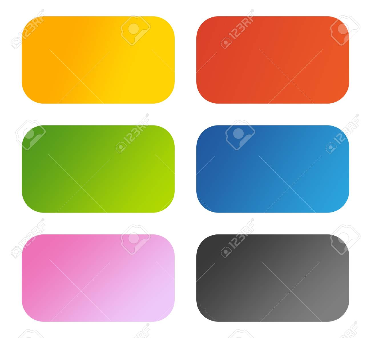 Set of six glossy aqua buttons with copy space, isolated on white background. Stock Photo - 6685948