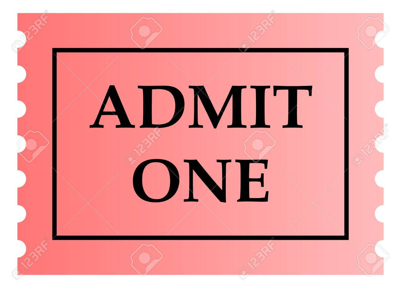Admit One Pink Ticket Template With Copy Space Isolated On White – Sport Ticket Template