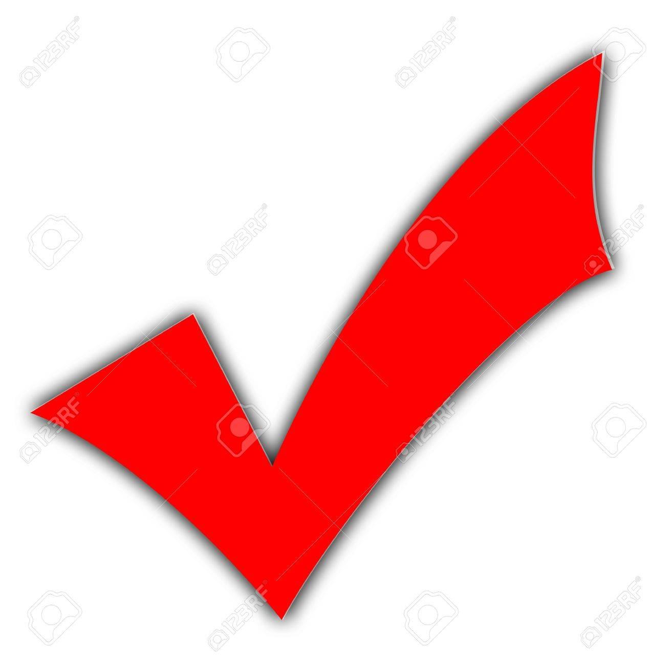 Red Tick Oder Häkchen Auf Weißen Hintergrund Isoliert Lizenzfreie