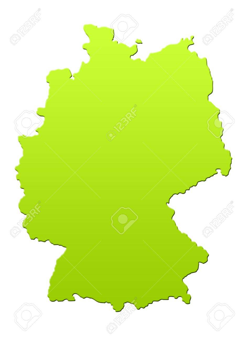 Germany map in green, isolated on white background. Stock Photo - 6779068