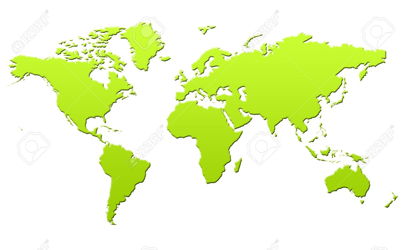 Green Gradient Map Of PlaEarth Or World In 3d, Isolated On