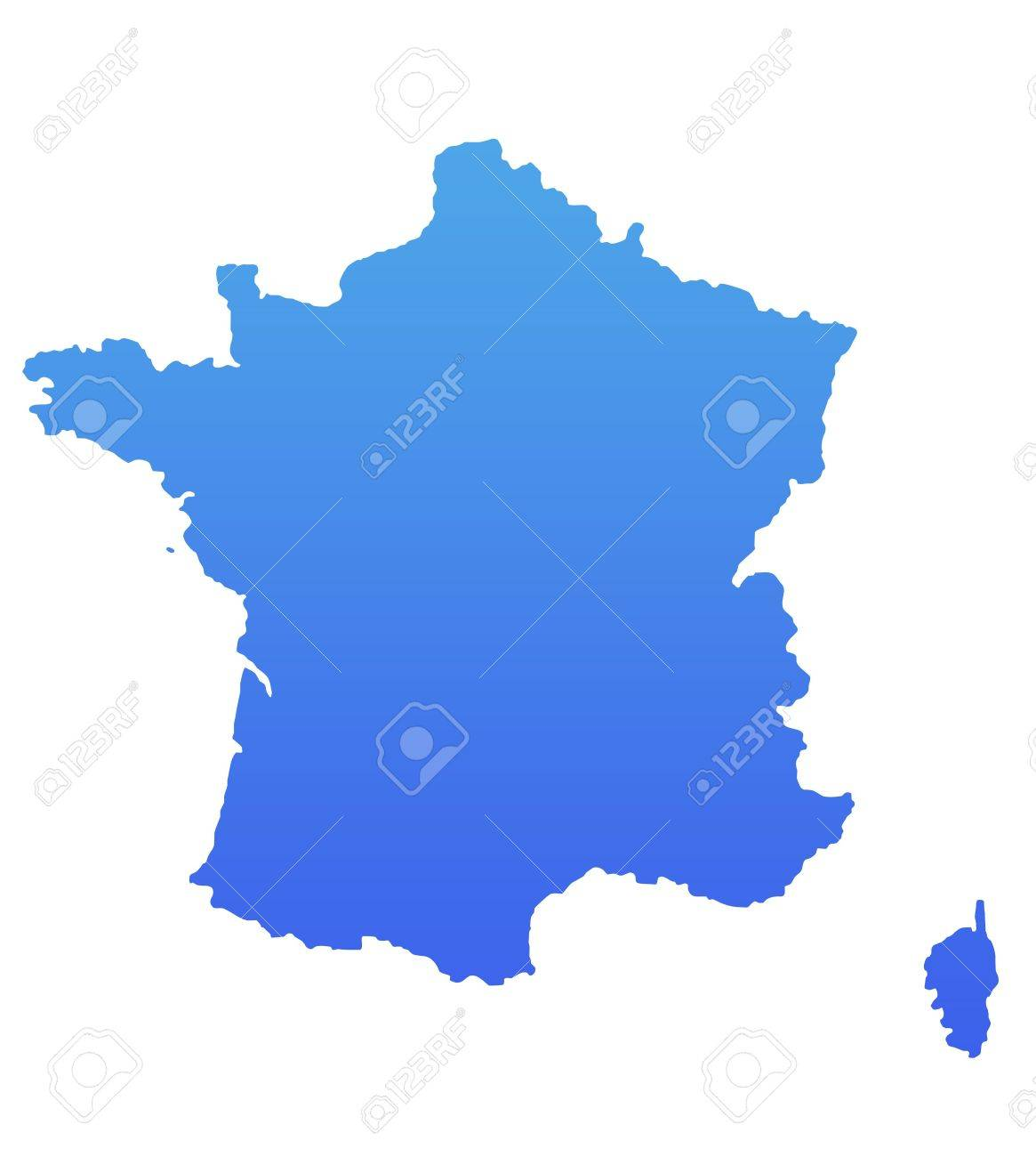 France map in gradient blue, isolated on white background. Stock Photo - 6779087