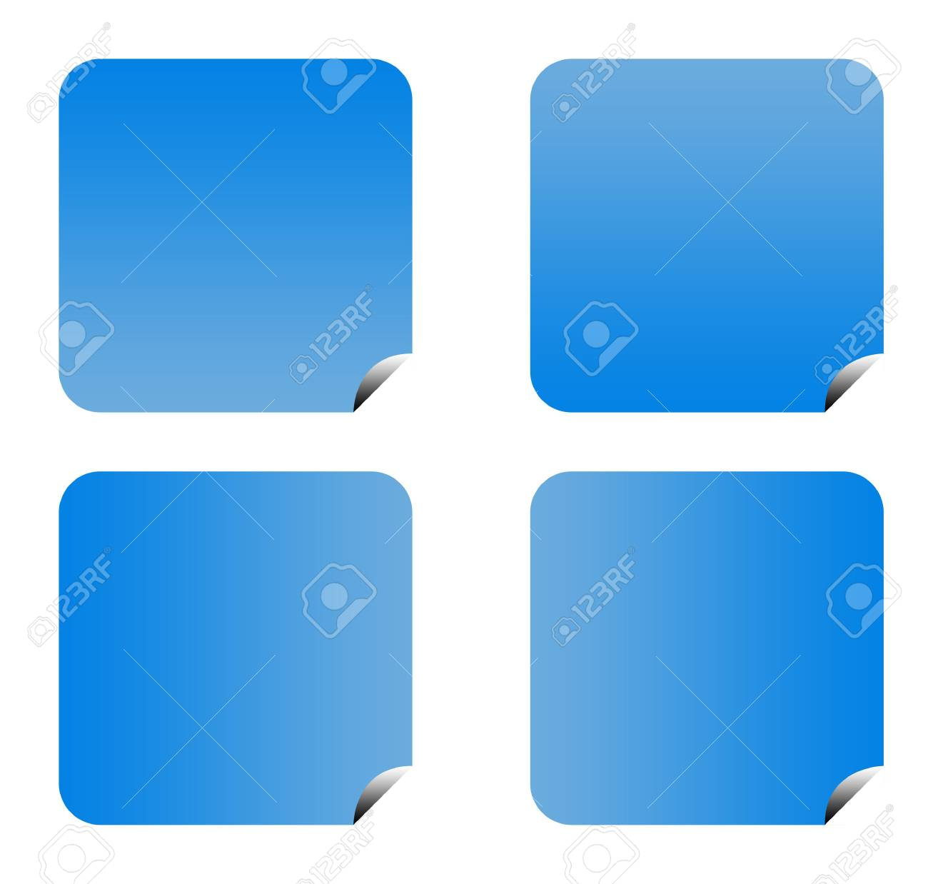 Blue gradient buttons with copy space isolated on white background. Stock Photo - 6779088