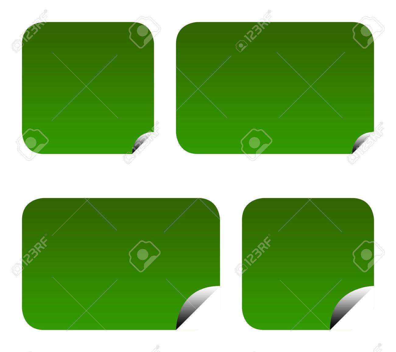 Green eco labels or stickers with peeled corners, isolated on white background. Stock Photo - 6984881