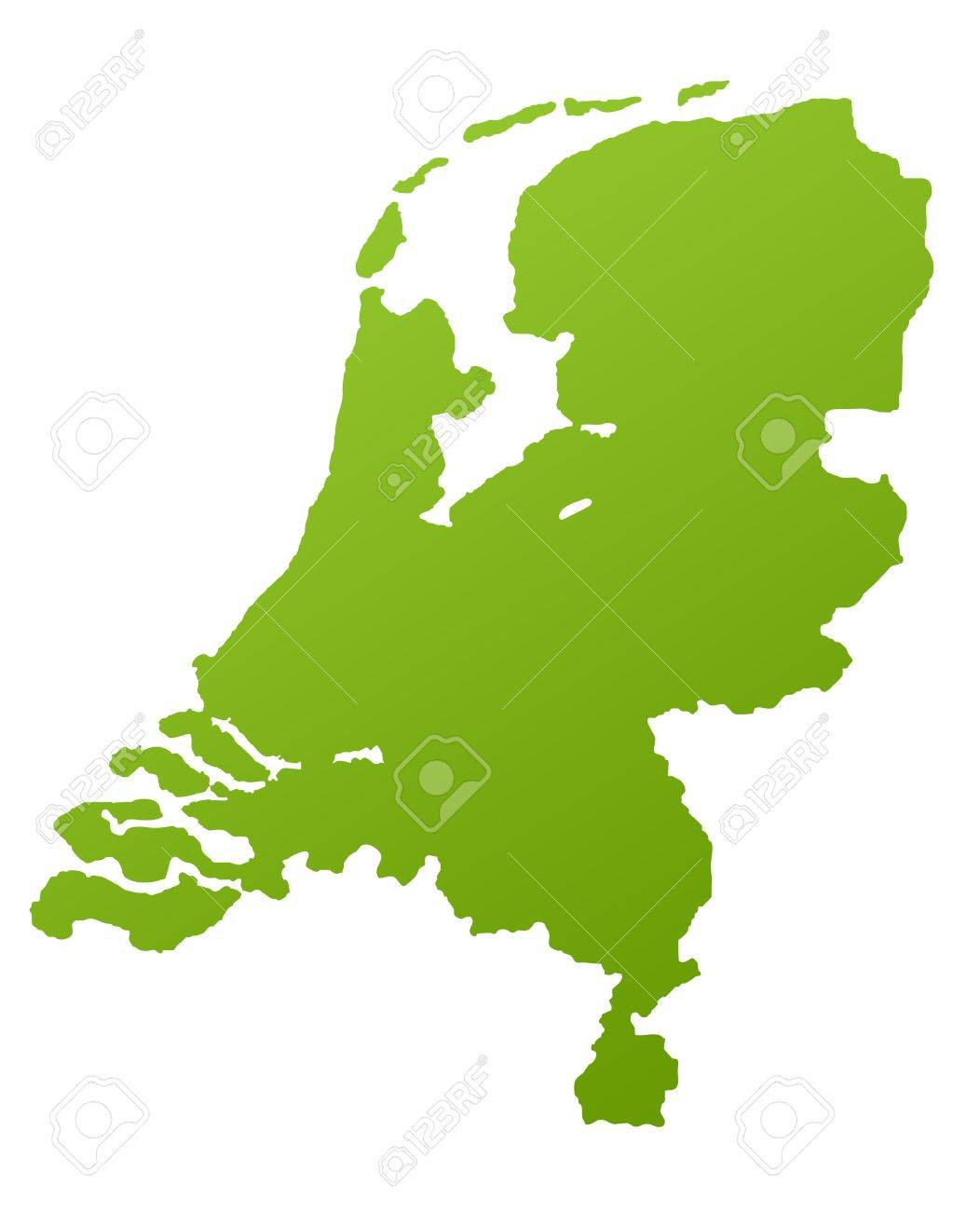 Netherlands or Holland map in green, isolated on white background. Stock Photo - 7041622