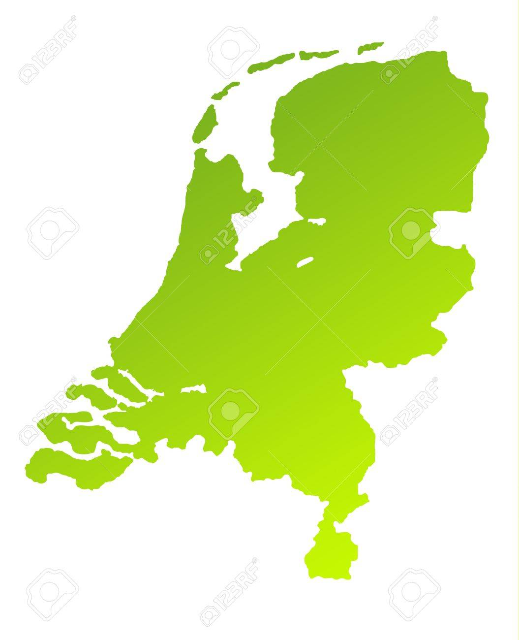 Green gradient map of Netherlands isolated on a white background. Stock Photo - 7312975