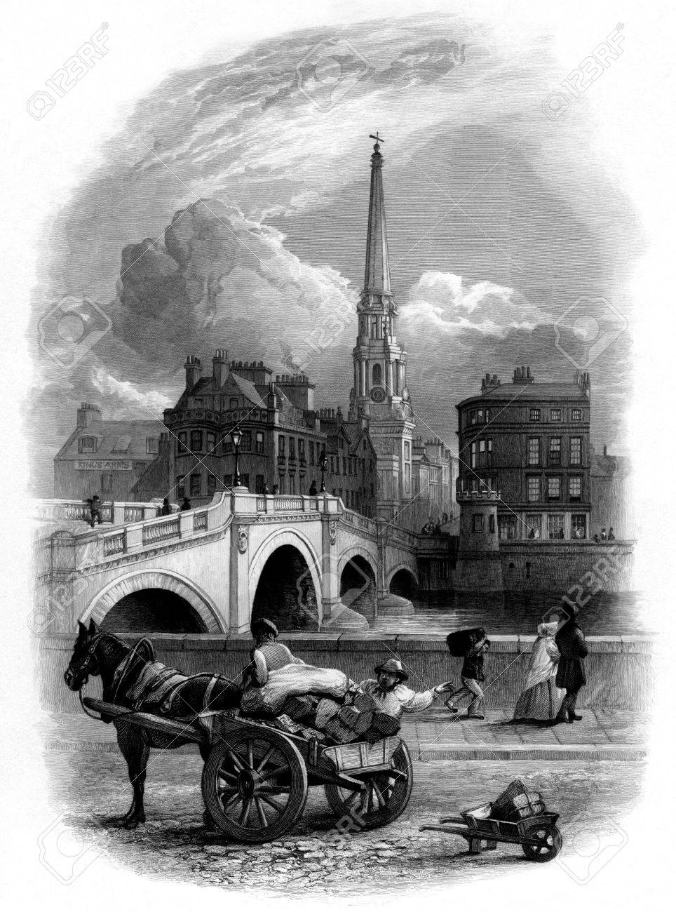 Vignette engraving of Ayr town, Scotland. Engraved by William Miller after John Faed, published in Tam O'Shanter, 1855. Public domain image by virtue of age. Stock Photo - 7517518