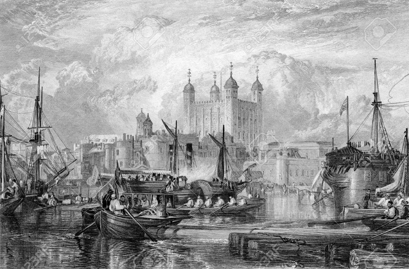 Tower of London with ships in port on River Thames, England, Engraved by William Miller in 1832. Public domain image by virtue of age. Stock Photo - 7531583