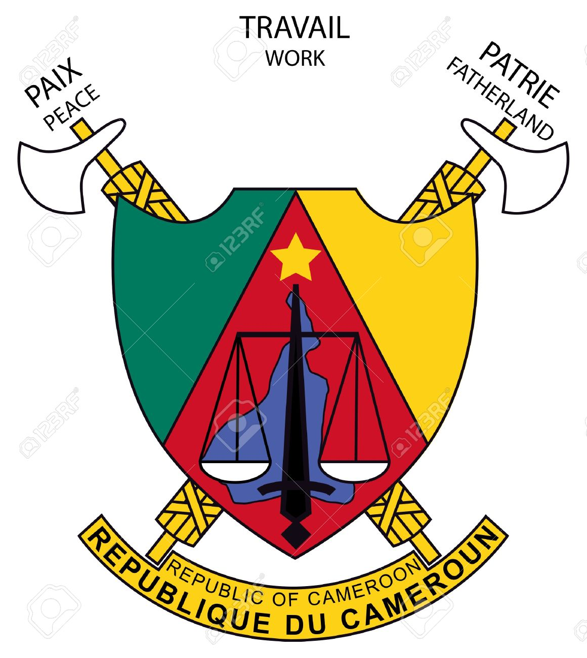 Cameroon coat of arms, seal or national emblem, isolated on white