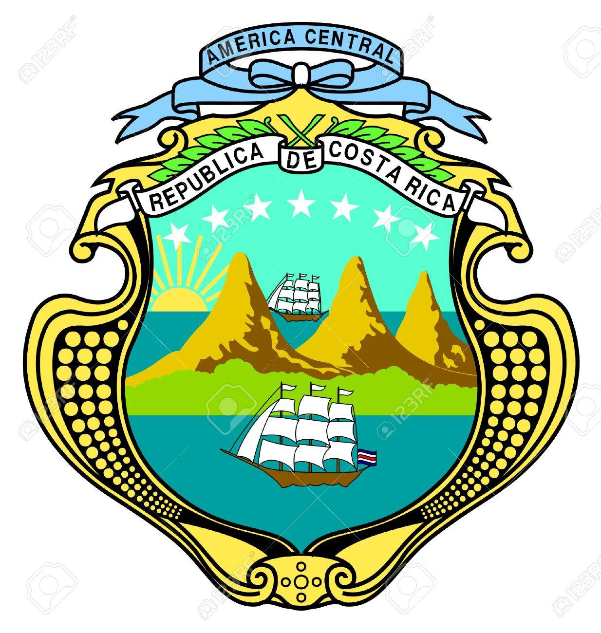 コスタリカの紋章、シールまたは国章、白い背景で隔離されました。 の ...