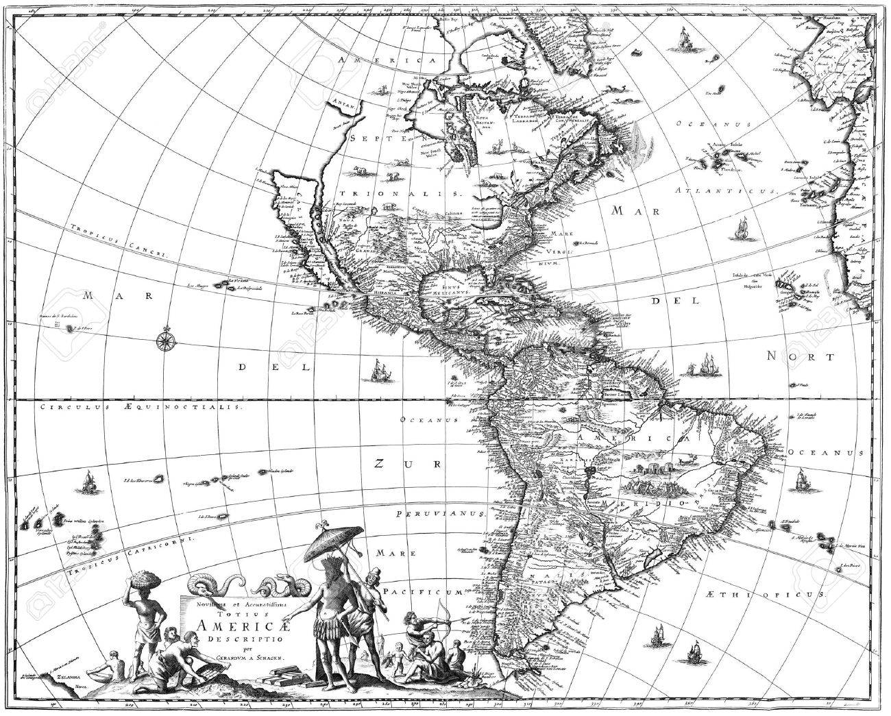 Map of North America and South America showing California as an island. - 7787759