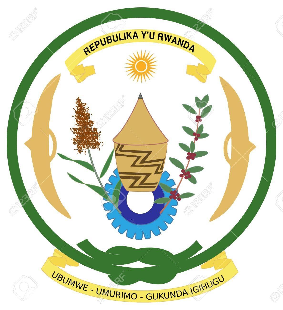 Rwanda coat of arms, seal or national emblem, isolated on white