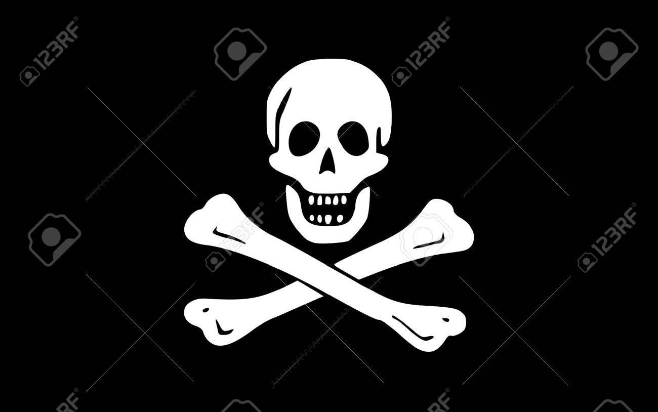 Illustration of jolly roger or skull and cross bones pirate flag. - 7787763