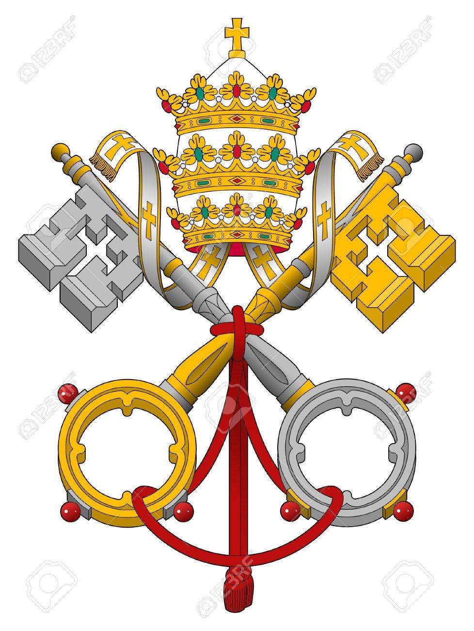 Embelm of Vatican City State showing cross keys, isolated on white background. - 8596062