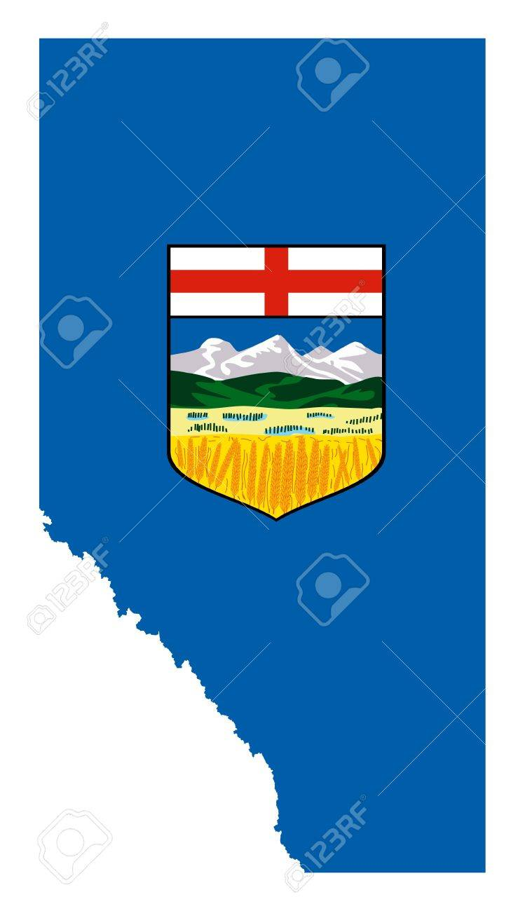 Alberta flag on province map, isolated on white background, Canada. - 9072075