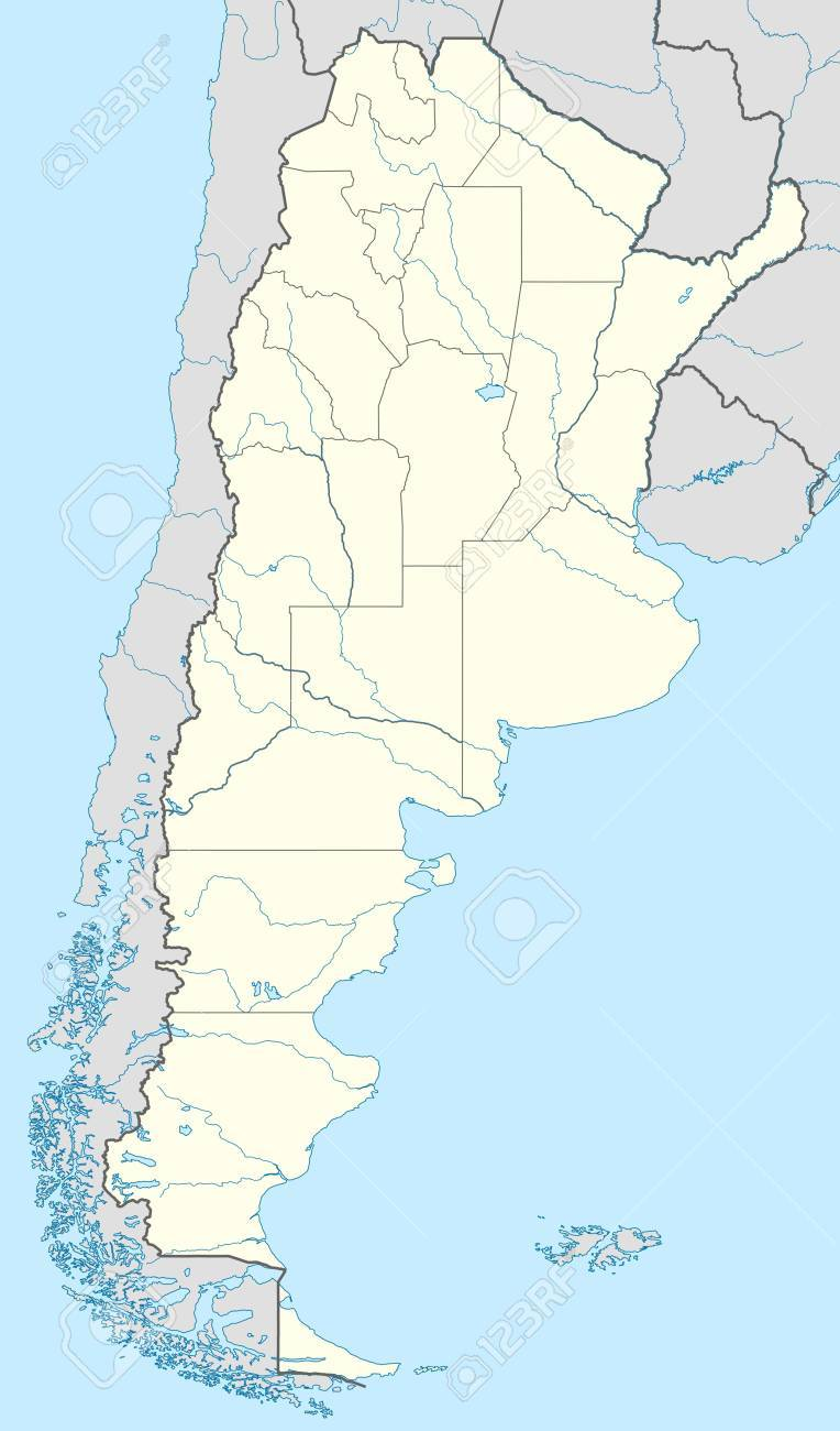 Illustrated Map Of Country Of Argentina With States Marked Stock - Argentina map of country