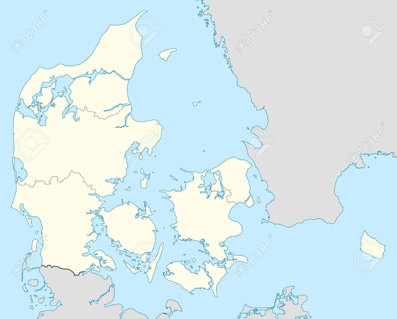 illustrated map of the country of denmark in europe stock photo