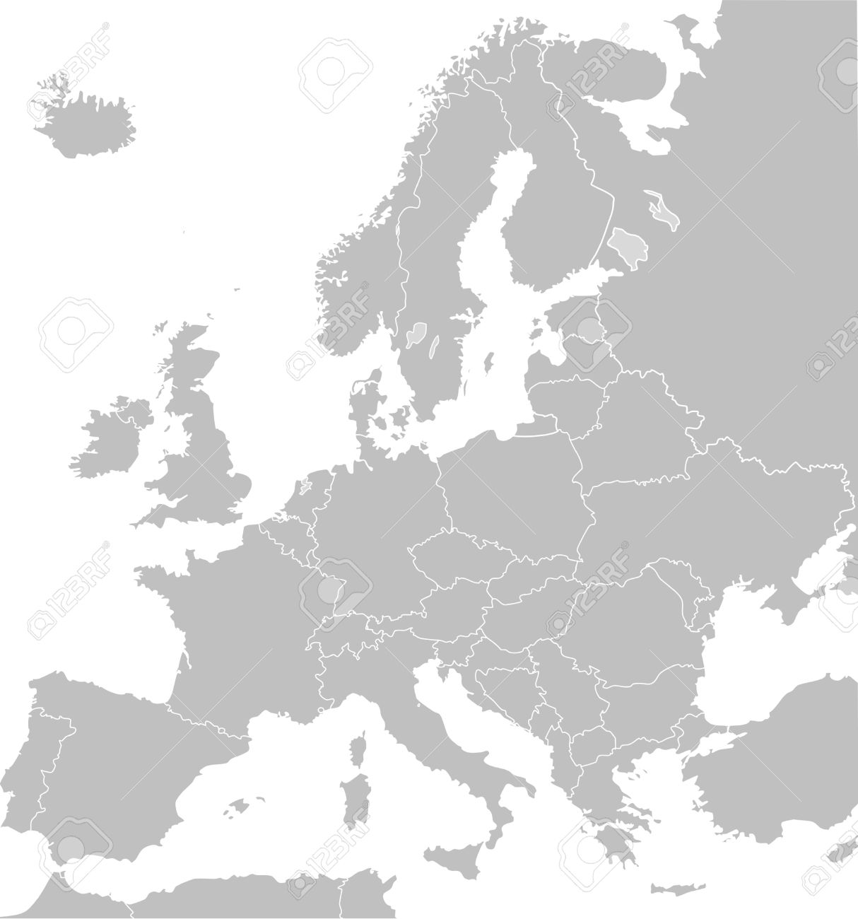 Illustrated map of Europe in grey or grey with borders of countries; white background. - 9072082