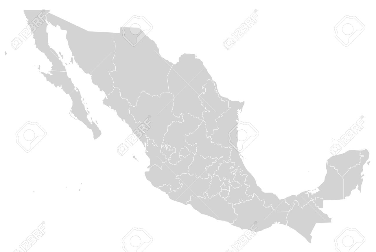 Illustrated map of Mexico showing states in grey or gray; white background. - 9072046