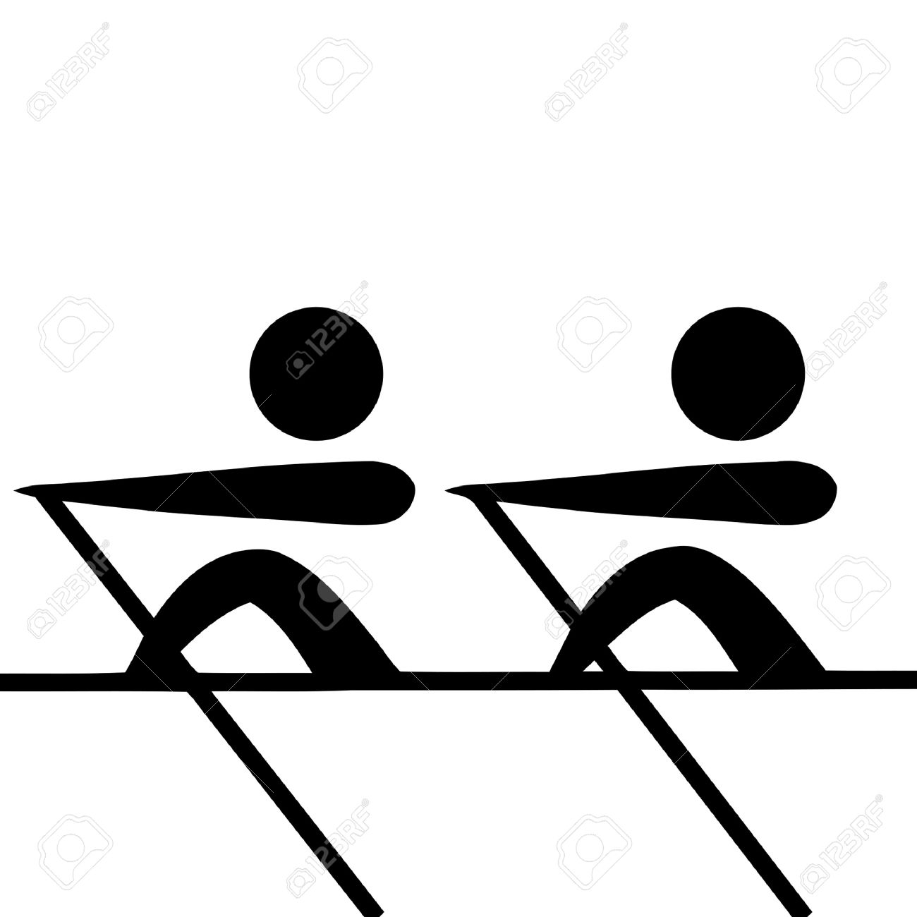 Black silhouetted rowing pairs sign or symbol; isolated on white background. - 9072047