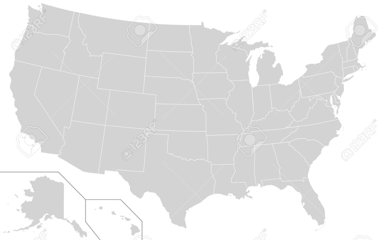 Illustration Of Grey Or Gray USA Map Isolated On White Background - Gray us map