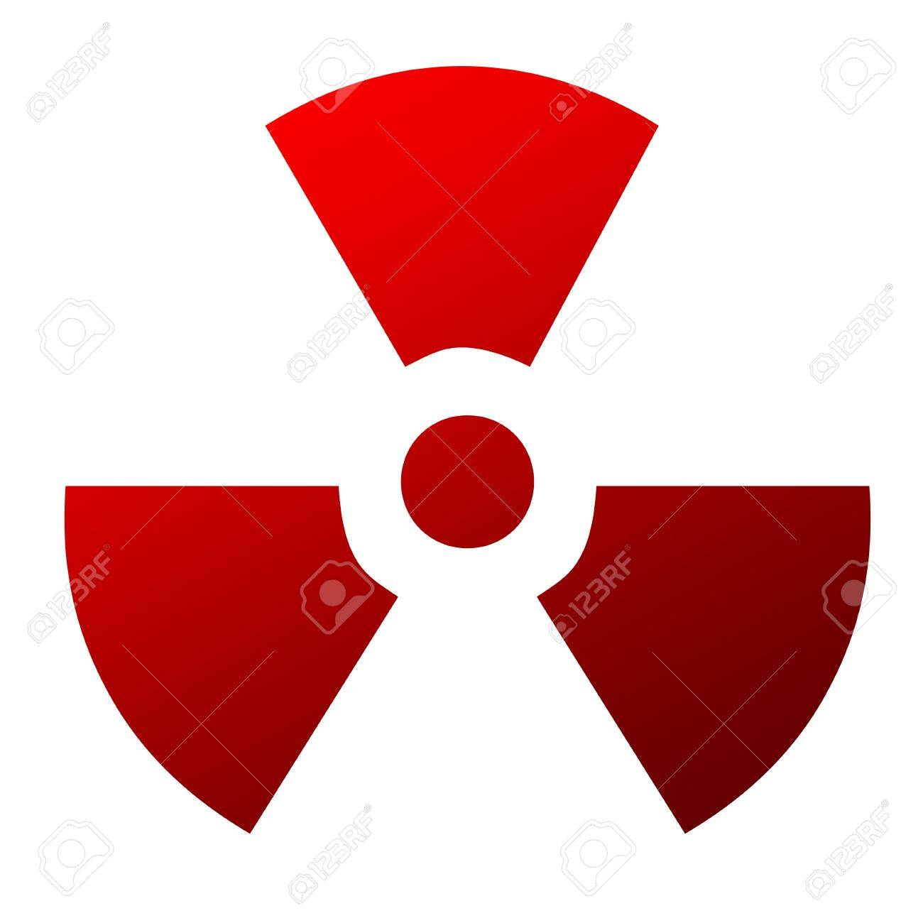 Red Radioactive Warning Sign Isolated On White Background Stock
