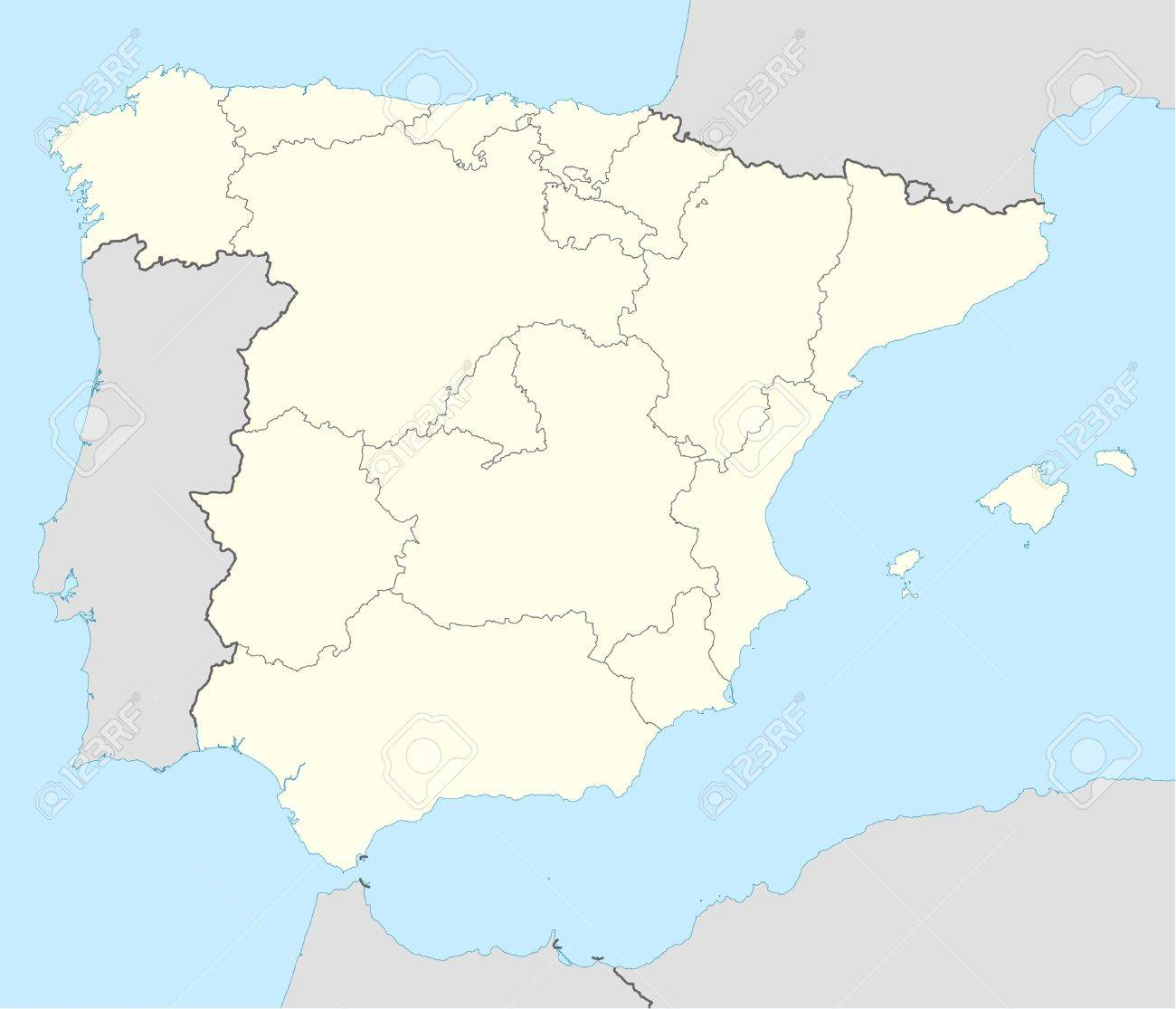 Map Of Spain With States.Illustrated Map Of The Country Of Spain Showing The State Borders