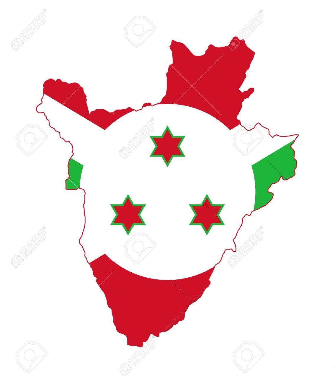 Illustration of Burundi flag on map of country; isolated on white background. Stock Photo - 9320559