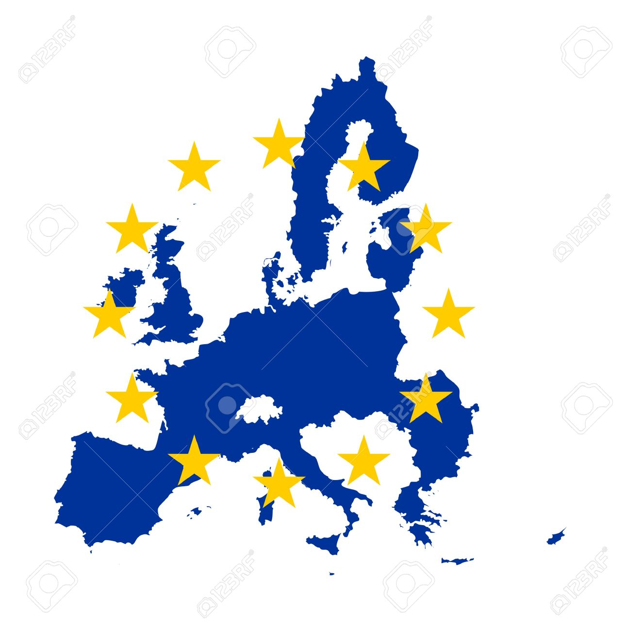 Illustration of European Union flag on map of continent; isolated on white background. - 9320570