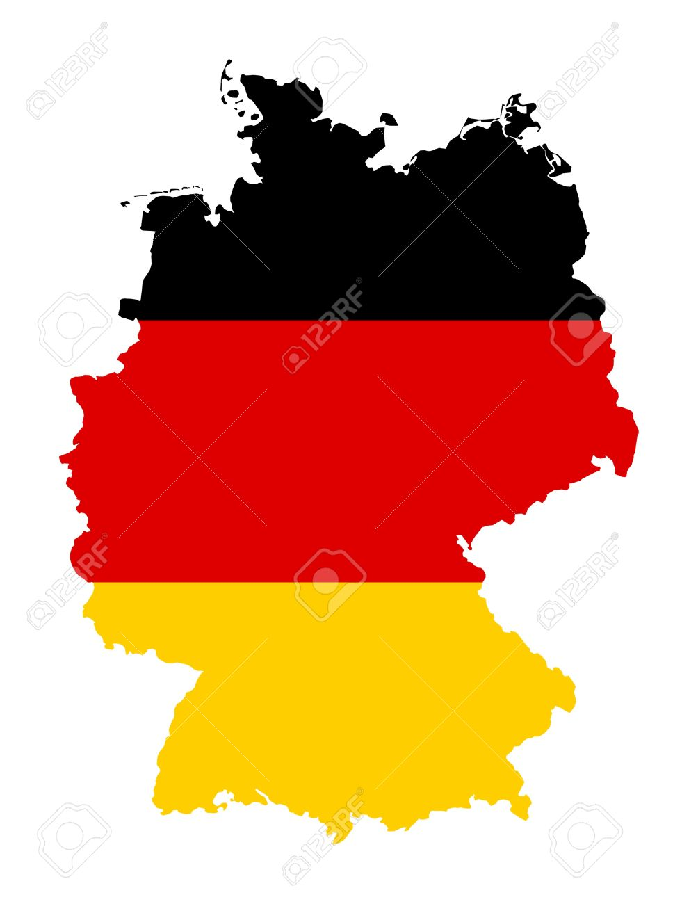 Illustration of Germany flag on map of country; isolated on white background. - 9320543