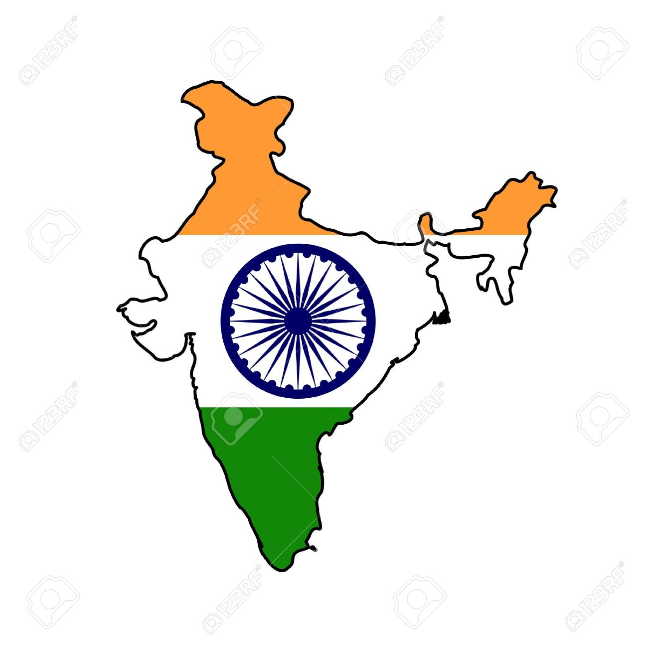Illustration of the India flag on map of country; isolated on white background. - 9320566