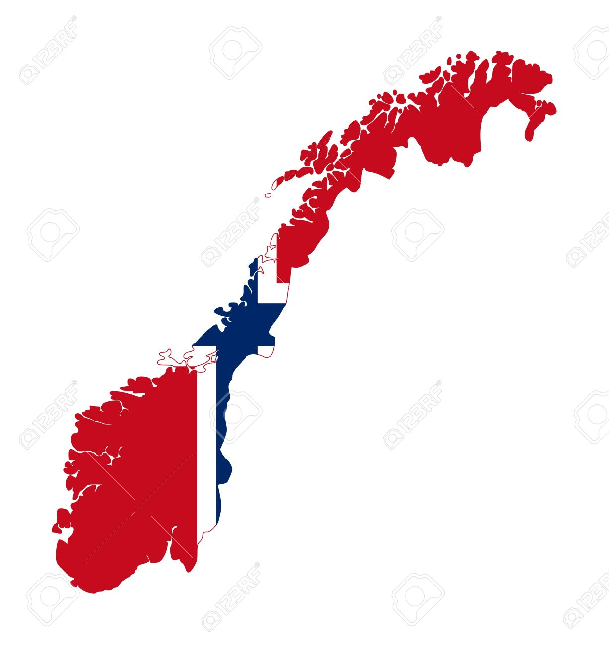 Illustration of Norway flag on map of country; isolated on white background. Stock Illustration - 9320540
