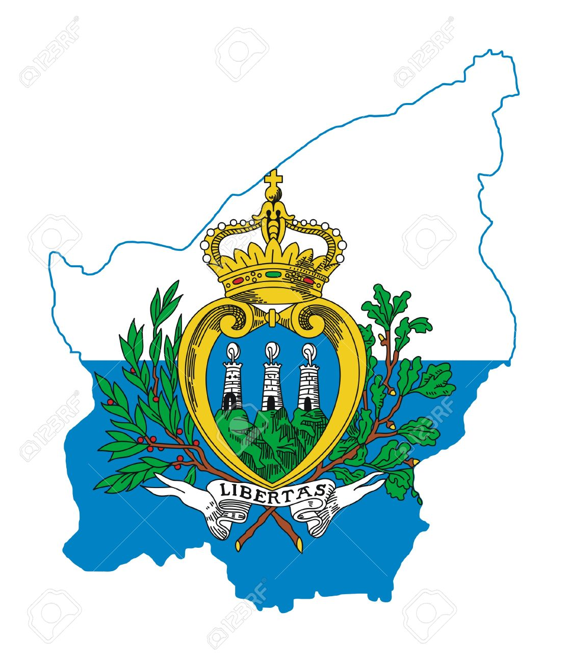 Illustration Of The San Marino Flag On Map Of Country Isolated