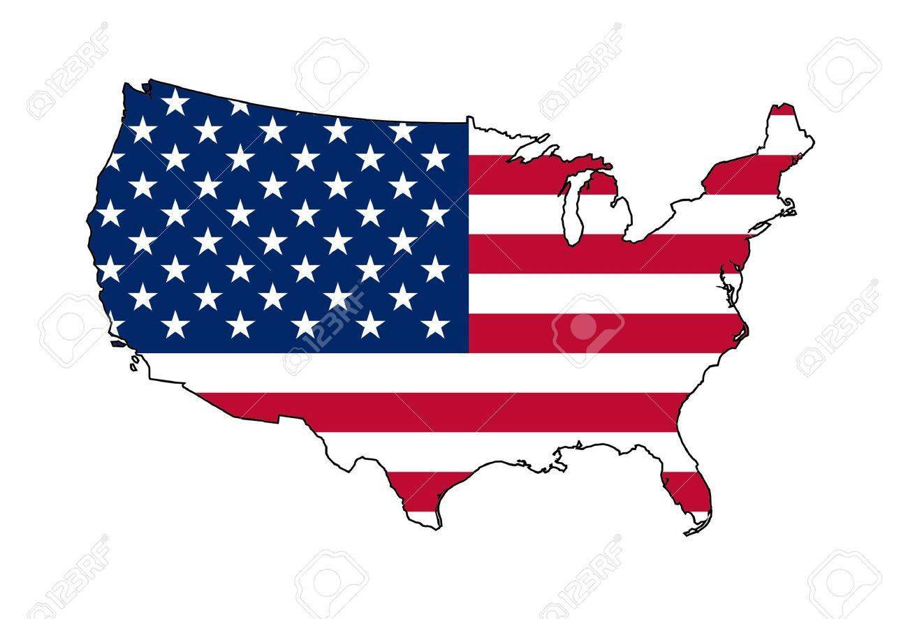 Illustration of American flag on map of country; isolated on white background. - 9320573
