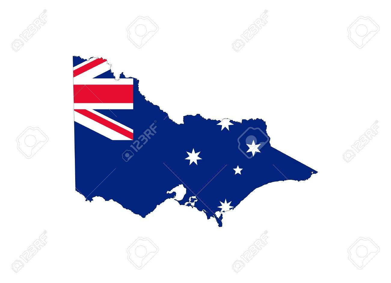 Victoria State Australia Map.State Flag Of Victoria Australia On Map Isolated On White