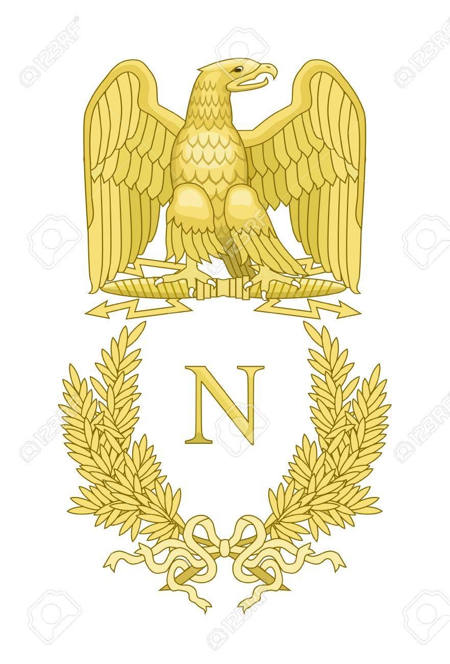 Golden Eagle On French Napoleonic Standard; Isolated On White ...