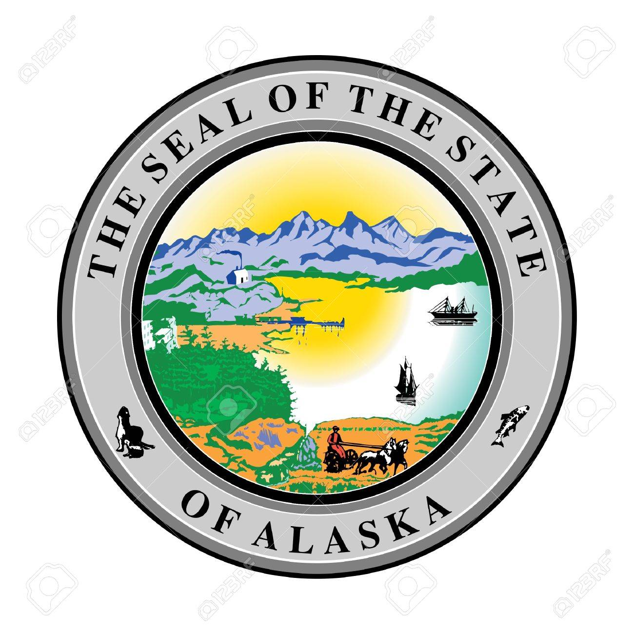 Seal of American state of Alaska; isolated on whiite background. Stock Photo - 9720435