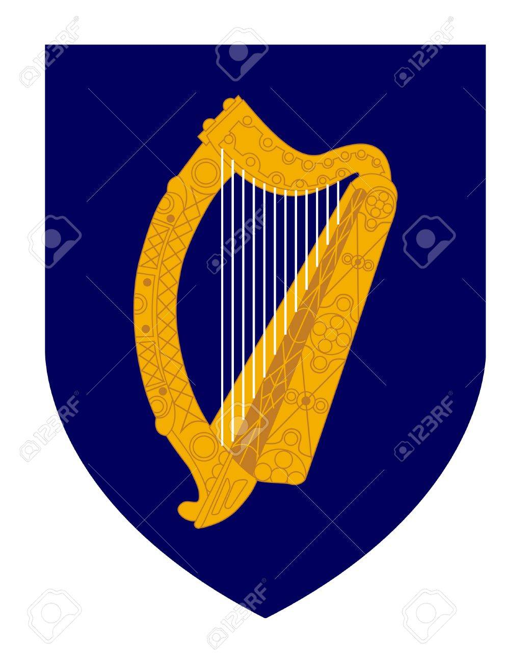 Harp on irish coat of arms shield isolated on white background harp on irish coat of arms shield isolated on white background stock photo buycottarizona Images
