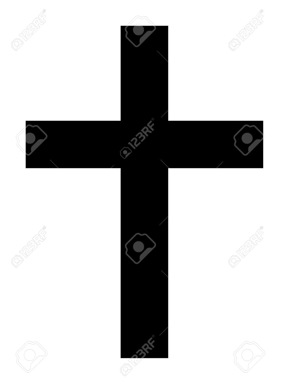 Black silhouette of Christian cross isolated on white background. - 11850030